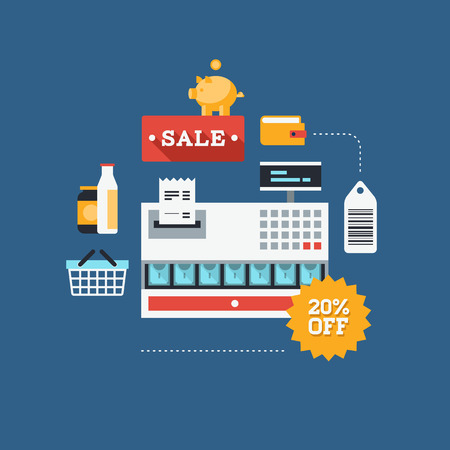Concept of retail commerce in market, sales and marketing elements such as coupon, discount, tags with shopping and money sign and symbol. Flat design style modern vector illustration. Isolated on stylish background. Vector