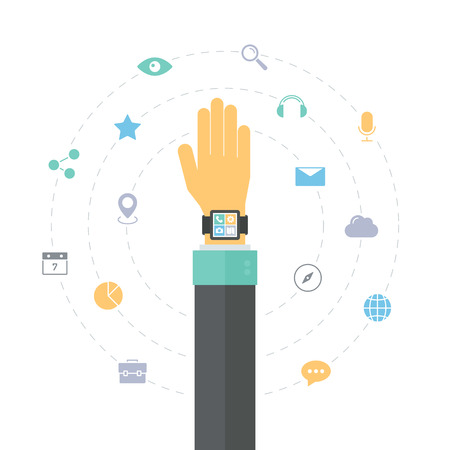 Smart watch technology concept, personal digital device on hand with mobile apps like phone calls, internet browsing, navigation, music and media player. Flat design style modern vector illustration concept. Isolated on white background. Vector