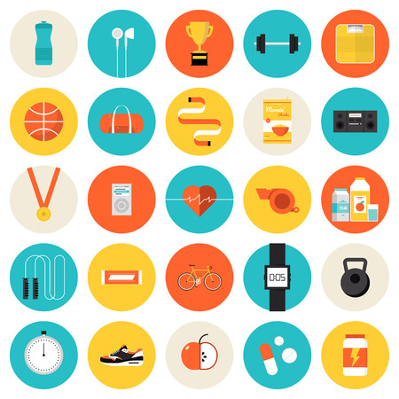 Flat icons set of fitness, sport and healthy lifestyle: exercise, diet, food, supplements, well-being, the human body. Modern design style vector symbol collection. Isolated on white background.   Vector
