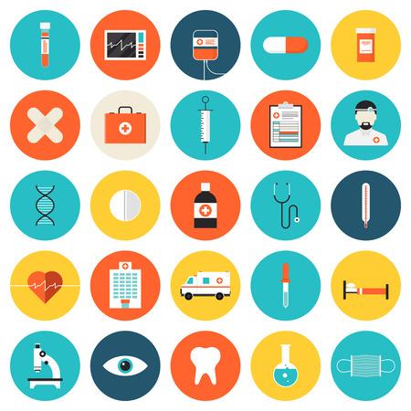 Flat iconen set van medische hulpmiddelen en medische apparatuur, wetenschappelijk onderzoek en medische behandeling service. Modern design stijl symbool collectie. Geïsoleerd op witte achtergrond. Vector Illustratie