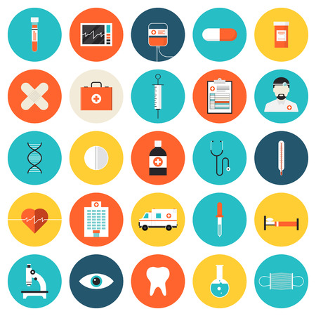 healthcare: Flat icons set of medical tools and healthcare equipment, science research and health treatment service. Modern design style symbol collection. Isolated on white background. Illustration