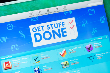 digital distribution: KIEV, UKRAINE - MAY 19, 2014: App Store screen with Get Stuff Done apps collection for productivity workflow. App Store is a digital distribution service for mobile apps on iOS, developed by Apple Inc.