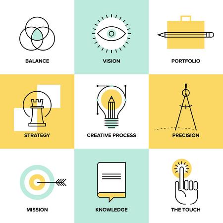 Creatief ontwerpproces concept met web studio ontwikkeling elementen - zakelijke visie, marketingstrategie, slimme oplossing en succes ideeën. Vlakke lijn iconen moderne stijl vector illustratie set. Stock Illustratie