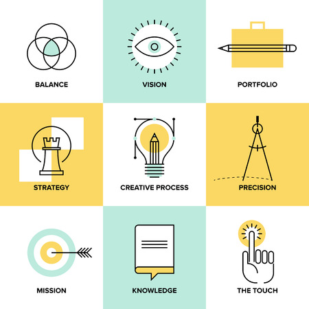 Creative design process concept with web studio development elements – business vision, marketing strategy, smart solution and success ideas. Flat line icons modern style vector illustration set. Ilustração
