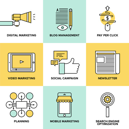 digital marketing: Flat line icons of digital marketing, video advertising, social media campaign, newsletter promotion, blog management, pay per click service, website seo optimization. Flat design style modern vector illustration concept.