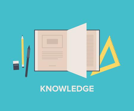 matematica: El conocimiento y la educaci�n concepto con el libro abierto para la lectura y el aprendizaje, matem�ticas equipos y herramientas de texto escrito. Estilo Dise�o plano ilustraci�n vectorial moderna. Aislado en el fondo con estilo.