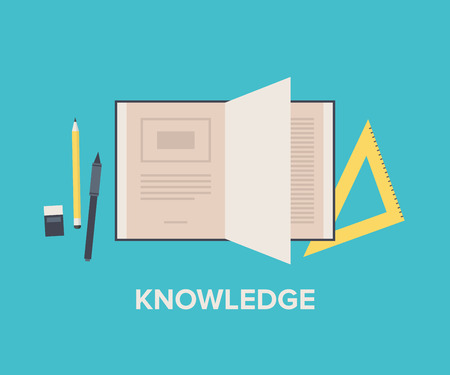 Knowledge and education concept with open book for reading and learning, maths equipment and writing text tools. Flat design style modern vector illustration. Isolated on stylish background. Illustration