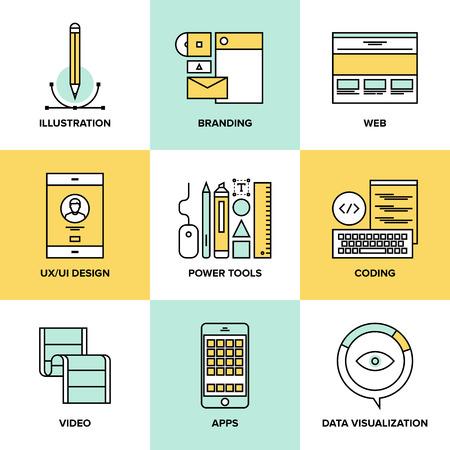 웹 사이트 사용자 인터페이스 디자인의 집합 플랫 라인 아이콘, 웹 페이지 코딩 및 프로그래밍, 모바일 애플 리케이션 개발, 브랜딩 및 데이터 시각화.