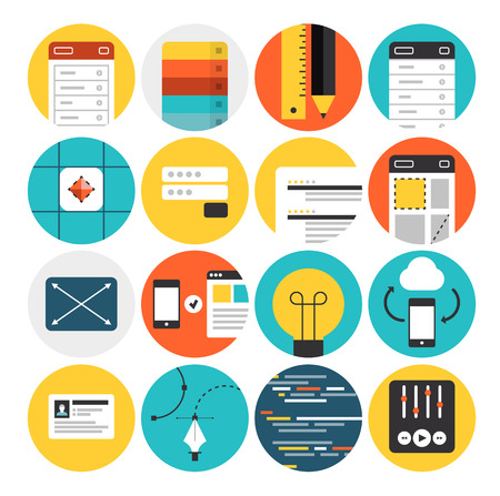 Flat icons set of web design and website development process, mobile user interface prototyping, graphic design sketching workflow. Flat design modern vector illustration concept. Isolated on white background. Illustration