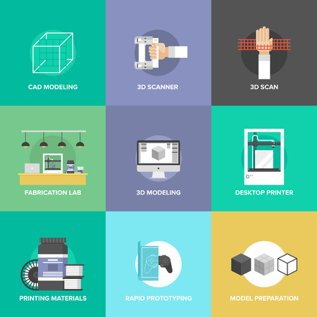 printers: Flat icons set of 3D printing and layout rapid prototyping