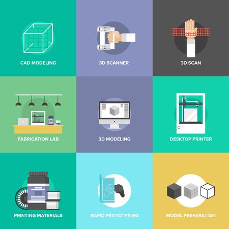 prototipo: Iconos planos establecidos de la impresión 3D y prototipado rápido layout