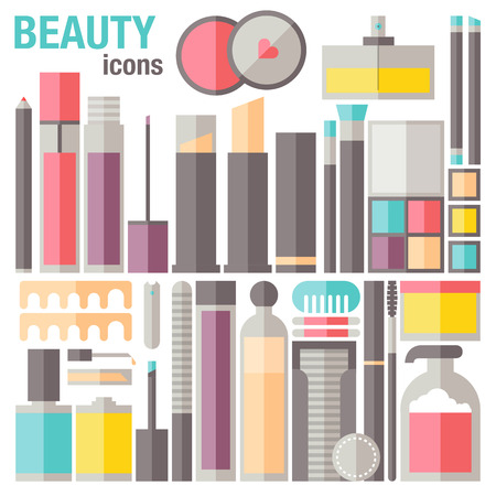 Flat icons set of common different cosmetic Vector