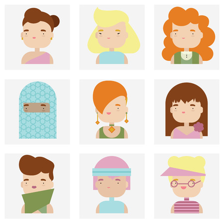 Flat icons collection of various attractive female people characters in cute kawaii style.  Vector