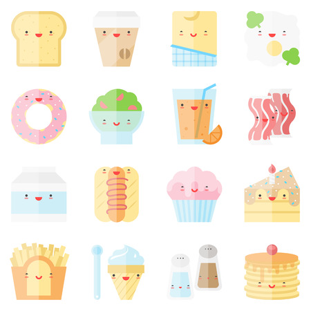 Flat icons set of popular food in cute modern kawaii style. Vector