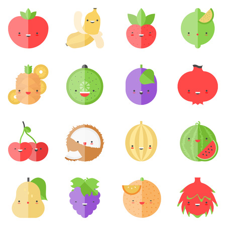 guava fruit: Flat icons set of popular tasty fruits in cute modern kawaii style.