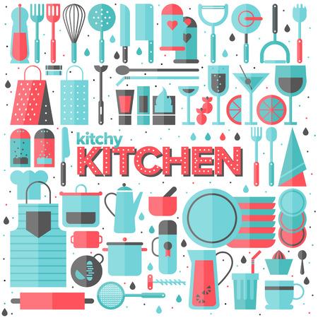 k�che: Flache Symbole Satz von K�chenutensilien und Sammlung von Kochgeschirr Illustration
