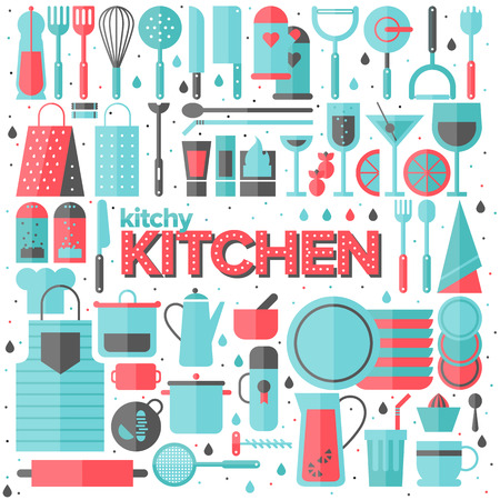 kitchen utensils: Flat icons set of kitchen utensils and collection of cookware