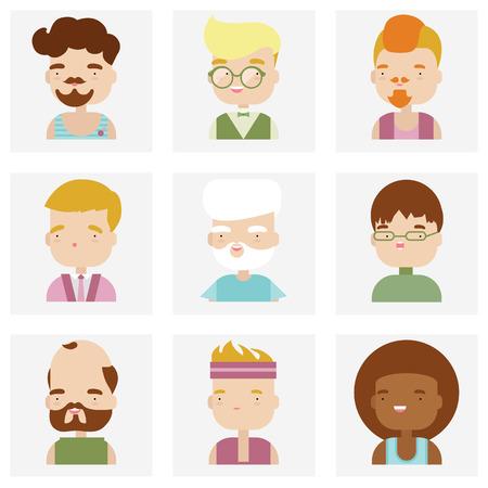 caricaturas de personas: Colección de iconos planos de diversos personajes personas de sexo masculino en el estilo del kawaii lindo.