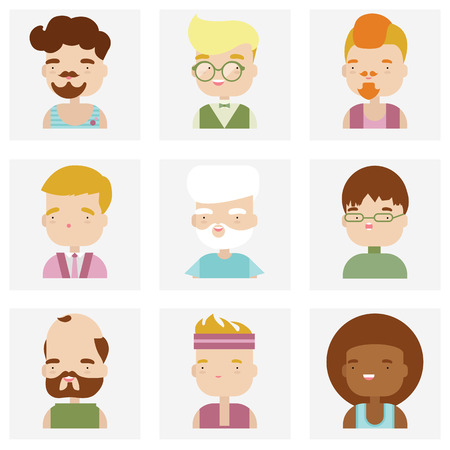 Flat icons collection of various male people characters in cute kawaii style. Vector