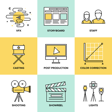Flat line icons set of professional film production, movie shooting, studio showreel, actors casting, storyboard writing, vfx visual effects and post production. Flat design style modern vector illustration concept. Иллюстрация