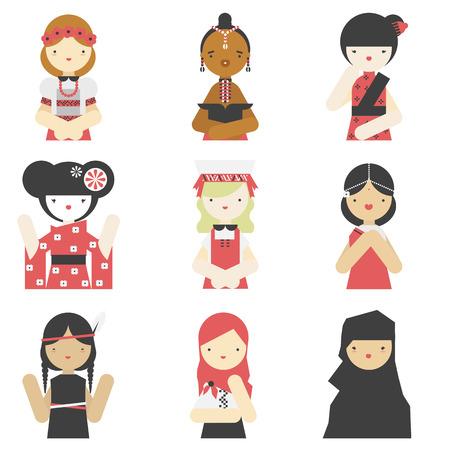 miras: Geleneksel kıyafetler giyen, farklı ulusal kızlar düz simgeler koleksiyonu.