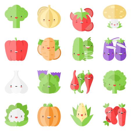 Flat icons set of popular tasty vegetables in cute modern kawaii style.  Vector
