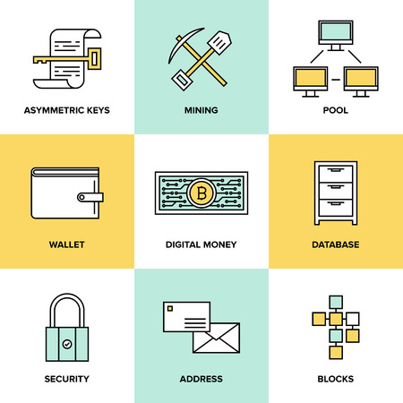 Flat line icons set of bitcoin digital money, cryptocurrency system and mining pool, security software technology and virtual currency  management.