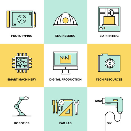 Flat line icons set of industrial technology and digital production, 3D modeling and prototype printing, fabrication laboratory research, futuristic engineering and robotics construction system. Modern design style vector illustration concept. Vector