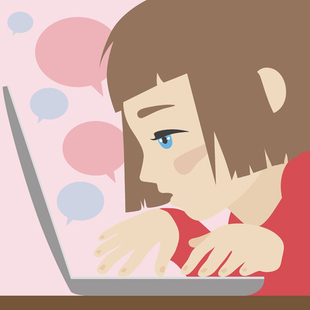 wondered: Flat illustration of cute wondered girl chatting over laptop. Flat design style modern vector illustration concept. Isolated on stylish background
