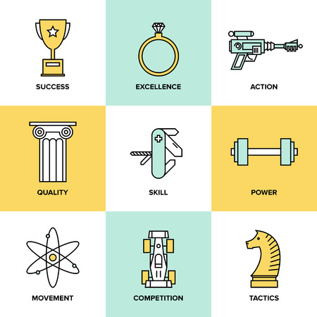 Flat line icons set of success business development, planning process elements, product and service quality, strategy performance. Modern design style vector illustration concept. Vector