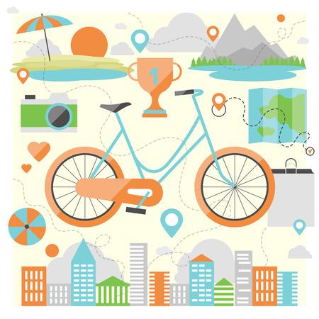 actividades recreativas: Andar en bicicleta en un varios lugares al aire libre, la aventura y los viajes de vacaciones en una bicicleta, la actividad de estilo de vida con el transporte ecol�gico. Estilo de dise�o Flat vector moderno concepto de ilustraci�n.