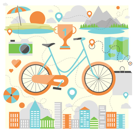 Riding a bike on a various outdoor locations, adventure and vacation travel on a bicycle, lifestyle activity with ecological transport. Flat design style modern vector illustration concept.