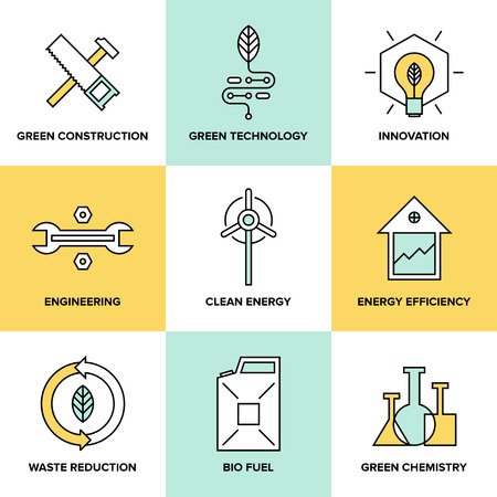 new generation: Flat line icons set of natural renewable and clean energy, green technology innovation and chemistry, bio fuel and waste reduction efficiency, ecological construction and recycling elements. Flat design style modern vector illustration concept.