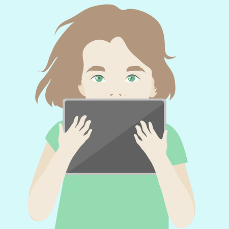 interesting: Flat illustration of cute children girl finding inspiration and imagination with digital tablet, trying to learn and discovery some interesting things. Modern design style vector illustration concept. Illustration
