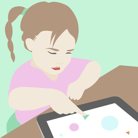 sketch child: Flat illustration of cute little serious girl sitting at the desk and trying to learn and use some elementary educational materials on digital tablet. Modern design style vector illustration concept.