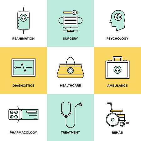 Flat line icons set of healthcare technology, diagnostic equipment, surgery tools, psychology and pharmacology, ambulance emergency, medicine treatment. Modern design style vector symbol collection. Vector