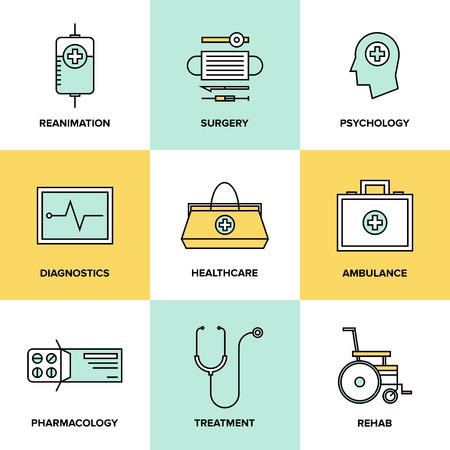 Iconos de la línea plana conjunto de tecnología de la salud, equipos de diagnóstico, herramientas de cirugía, la psicología y la farmacología, de ambulancias para emergencias, tratamiento de la medicina. Moderno estilo de diseño vectorial símbolo de recogida.