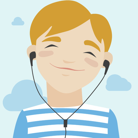 Flat illustration of happy little smiling boy in casual t-shirt walking and listening to music via headphones. Modern design style vector illustration concept. Isolated on stylish background Vector
