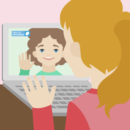 calling: Flat illustration of two happy cute smiling girlfriends calling each other via video chat on a laptop. Flat design style modern vector concept. Isolated on stylish background Illustration