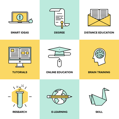 online degree: Flat line icons set of online education, brain training games, internet tutorials, smart ideas and thinking, electronic learning process, studying new skills. Modern design style vector symbol collection.