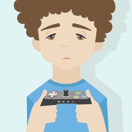 Flat illustration of little sad boy portrait, looking at the monitor and holding gamepad showing with the face expression of game over. Flat design style modern vector concept.  Vector