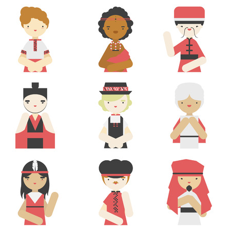 Flat icons collection of different national boys wearing traditional clothes. Modern design vector illustration set.  Isolated on white background.   Vector