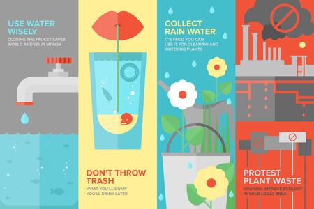 recursos naturales: Conjunto de la bandera plana de la reutilizaci�n y el ahorro de agua de manera m�s eficiente, el consumo de agua por la gente y en la industria manufacturera, la contaminaci�n del agua y la protecci�n del medio ambiente