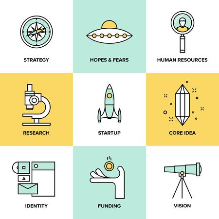 D'icônes de lignes droites Jeu de la planification du développement de la petite entreprise, les éléments clés de démarrage, la solution de la stratégie et des études de marché, l'identité de la marque et de la vision de l'entreprise Illustration