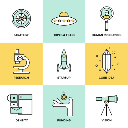 Flat line icons set of small business planning development, startup key elements, strategy solution and market research, brand identity and company vision