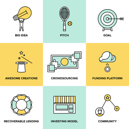 crowd sourcing: Flat line icons set of crowd funding service, investing platform for creative project, development of small business, startup model and community ideas