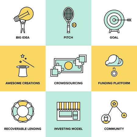 fondos negocios: Iconos de l�nea fija establecida de servicio crowdfunding, invertir plataforma para proyectos creativos, desarrollo de la peque�a empresa, el modelo de puesta en marcha y las ideas de la comunidad Vectores