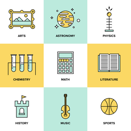 math set: Flat line icons set of education main subjects, schooling symbol and learning elements, studying and educational objects