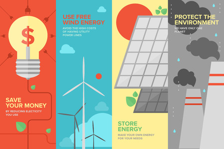 Flat banner set of power and energy savings, natural renewable and clean source of energy for money save and environmental protection  Vector
