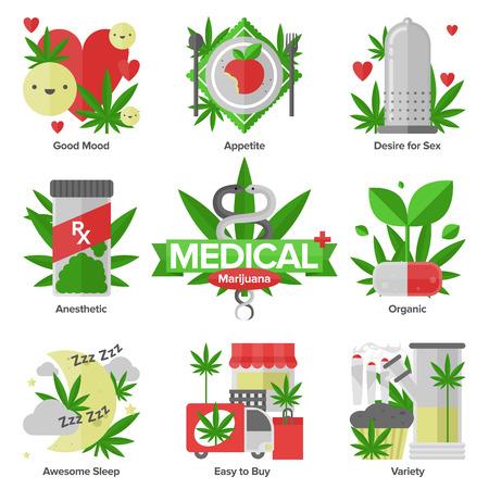 medicamentos: Iconos planos conjunto de usos de la marihuana medicinal diarias, efecto cannabinol investigaci�n en medicina, formas de variedades de cannabis utilizando Vectores